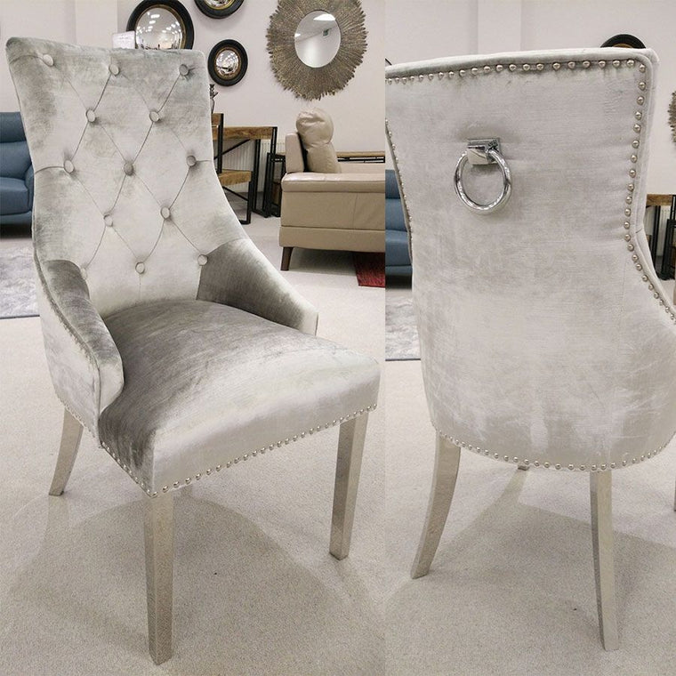 Belle Pewter Knockerback Soft Velvet  Dining Chair With Ring - Chrome Legs