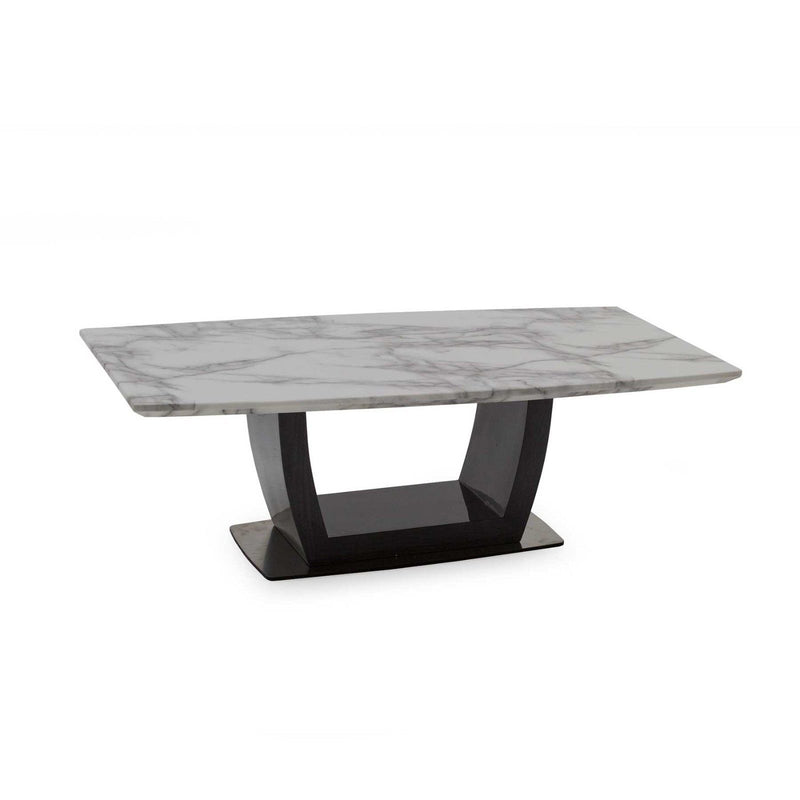 Luciana 130cm Grey With White Marble Top Coffee Table Imaginex