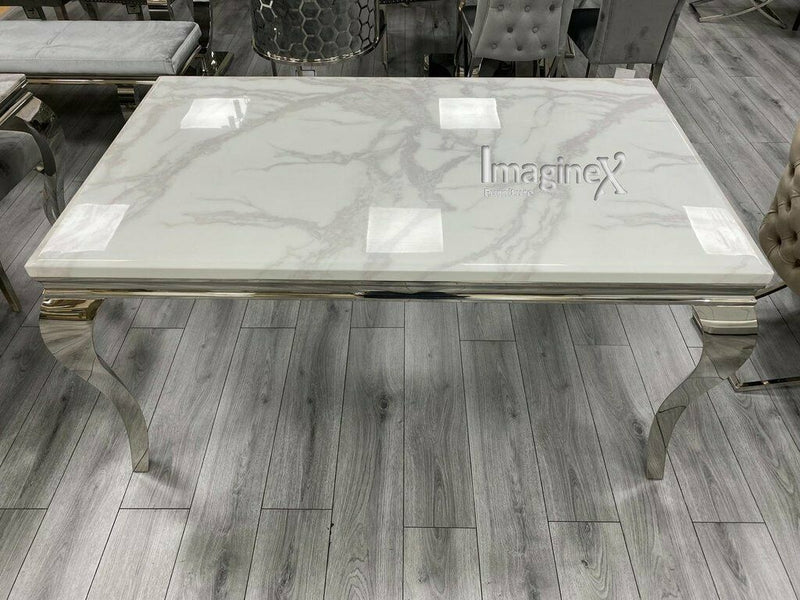 Louis 200cm White Marble Dining Table + Light Grey Lion Knocker Plush Velvet Chairs