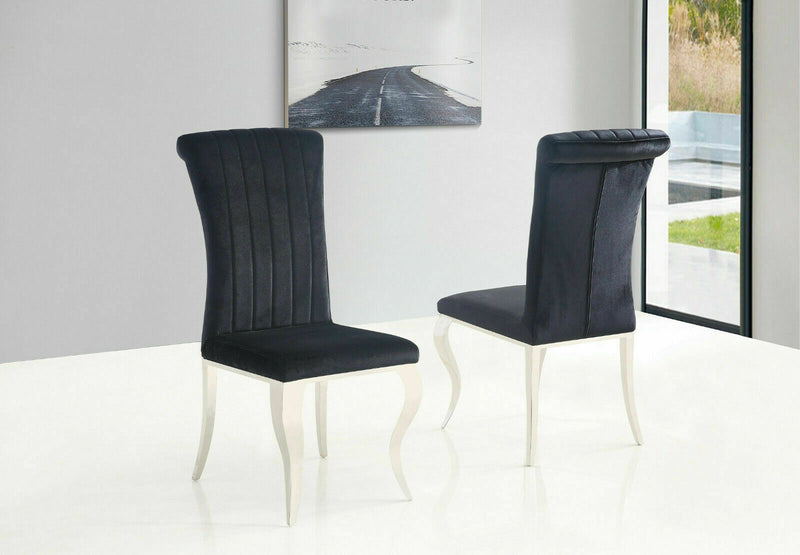 Liarra Plush Velvet Fabric Dining Chair - Black - ImagineX Furniture & Interiors