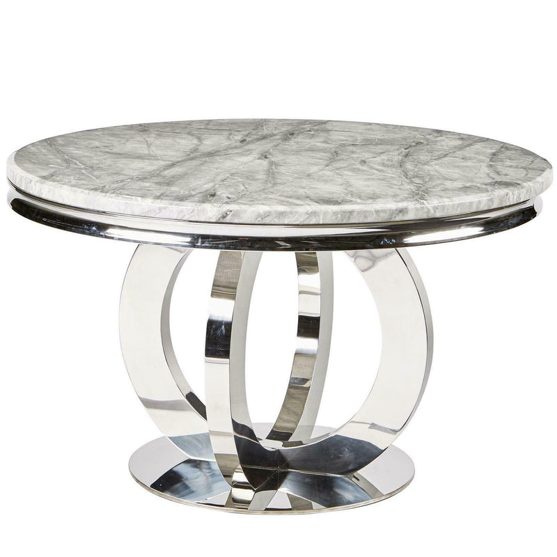 Chelsea 130cm Grey Marble Round Dining Table + Valente Grey Lion Button Chairs