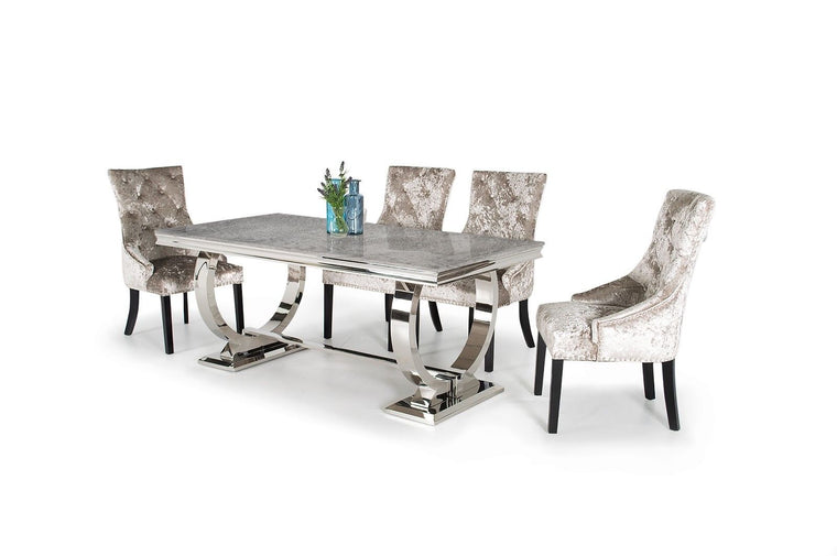 Arianna 200cm Grey Marble & Chrome `O` Dining Table + 4 Ava Crushed Velvet Chairs