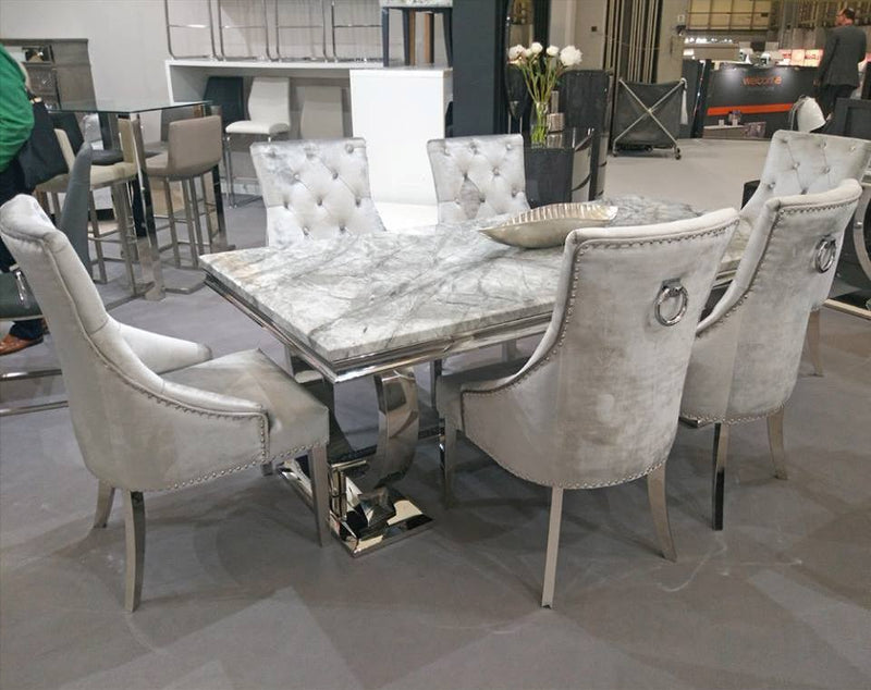 Arianna 200cm Grey Marble Dining Table + Belle Pewter Velvet Chairs - ImagineX Furniture & Interiors