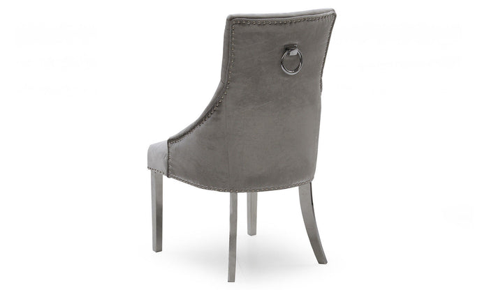 Belle Pewter Knockerback Soft Velvet Dining Chair With