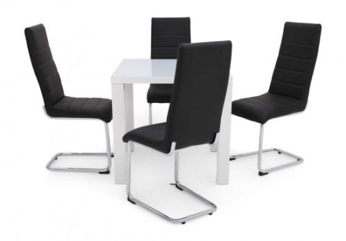 Blanca 80cm White high Gloss Dining Table + 4 Hugo Chairs in 4 colours - ImagineX Furniture & Interiors