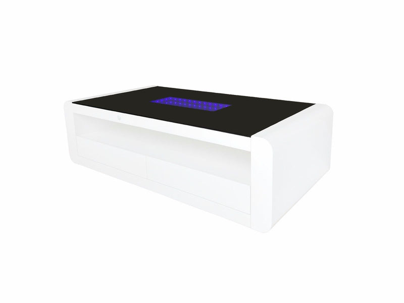 New Trixie LED Light Black / White High Gloss / Glass 2 Drawer Coffee Table - ImagineX Furniture & Interiors