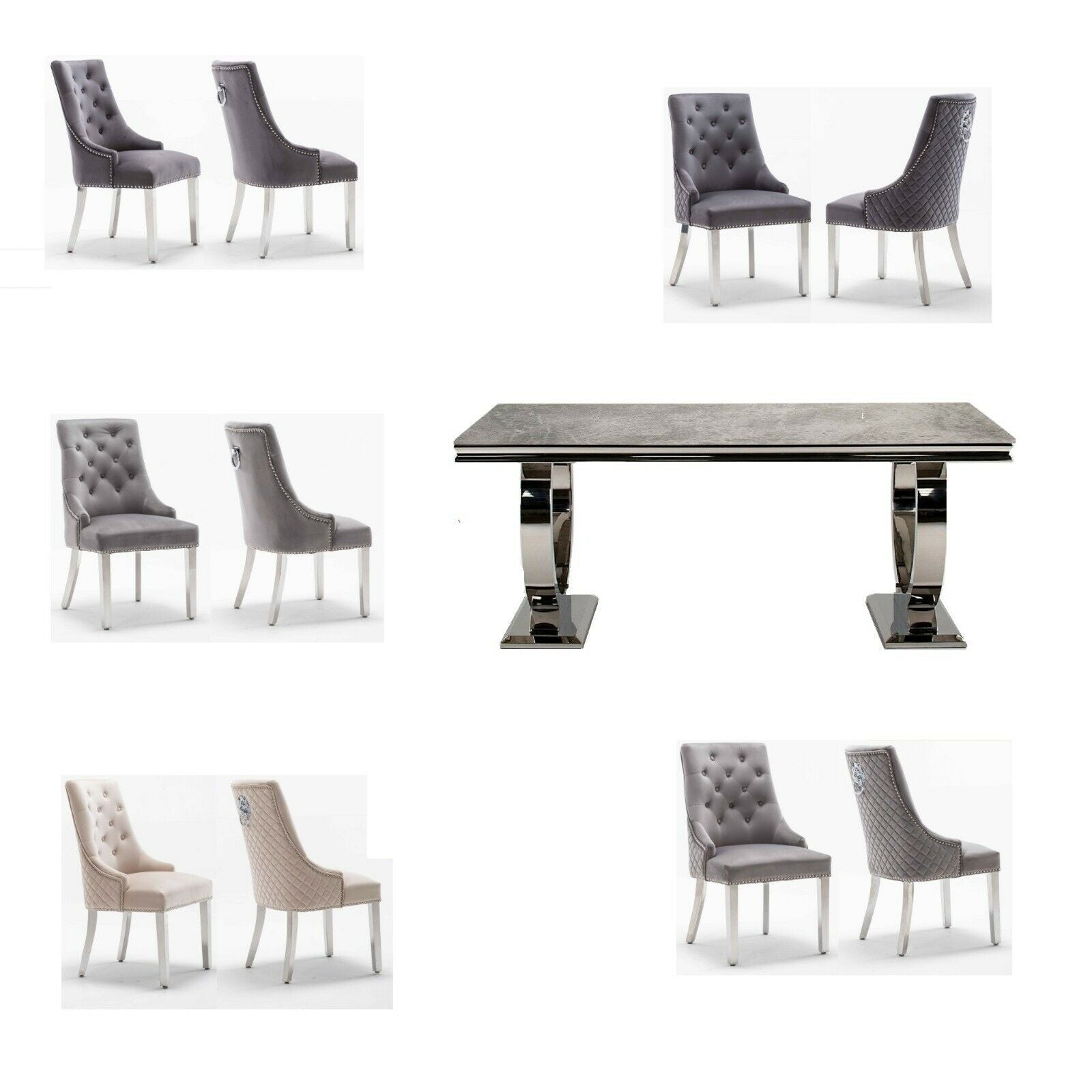 Arianna Grey 200CM Dining Table and Chelsea Lion Knocker Plush Velvet Dining Chairs