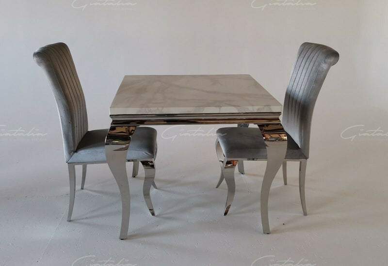 Louis 90cm White Marble Dining Table + Louis Plush Velvet Dining Chairs