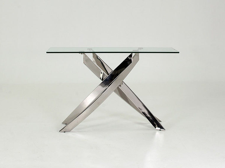 Kalmar Chrome Tempered Glass Console Table