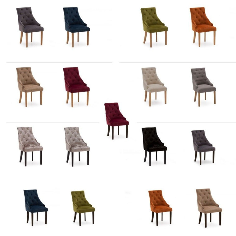 Hobbs Dining Chairs in Crushed Velvet/ Velvet/ Linen Fabric (Set of 2)