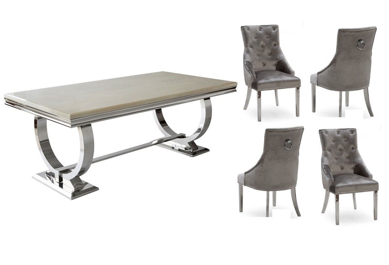Arianna Cream Marble & Chrome `O` 180cm Dining Table + Belle Pewter Velvet Chairs - ImagineX Furniture & Interiors