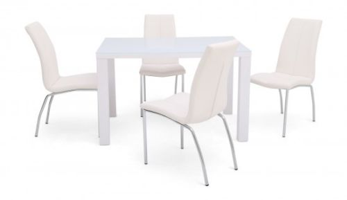 Blanca 120cm White High Gloss Dining Table + 4 Ava Dining Chairs in 4 Colours