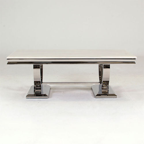 Arianna 130cm Cream Marble & Chrome `O` Coffee Table