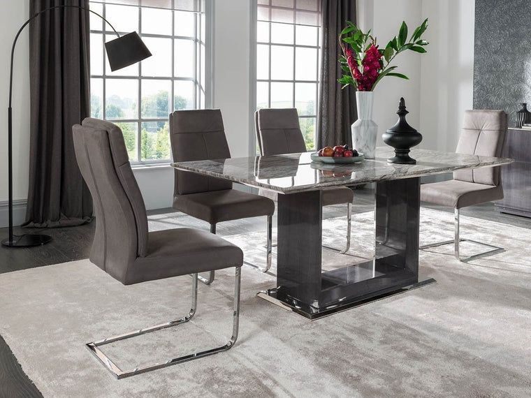 Donatella 120cm Grey Marble Dining Table + Dining Chairs