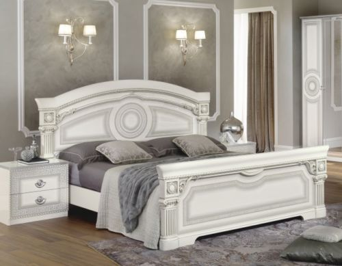 Aida White & Silver Italian Bedroom Set - Full Range Available