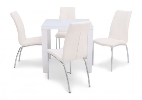 Blanca White High Gloss 80cm Dining Table + 4 Ava Dining Chairs in 4 Colours - ImagineX Furniture & Interiors
