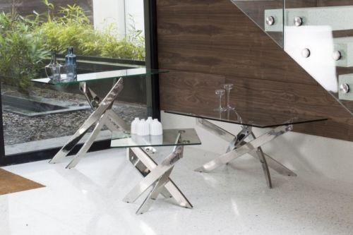 Kalmar Chrome Tempered Glass Console Table - ImagineX Furniture & Interiors
