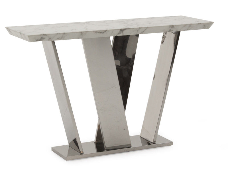 New Rena White Grey Luxury Chrome Marble Console Table - ImagineX Furniture & Interiors