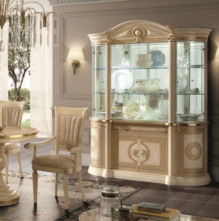 Aida Ivory and Gold Italian Dining Chair