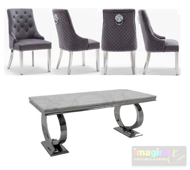 Selene 200CM White Marble Dining Table and Chelsea Lion Knocker Plush Velvet Dining Chairs
