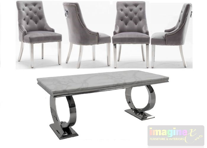 Selene 200CM White Marble Dining Table and Knightsbridge Plush Velvet Dining Chairs