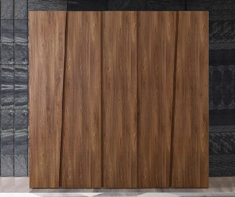 Storm Walnut Finish Italian 5 Door Wardrobe