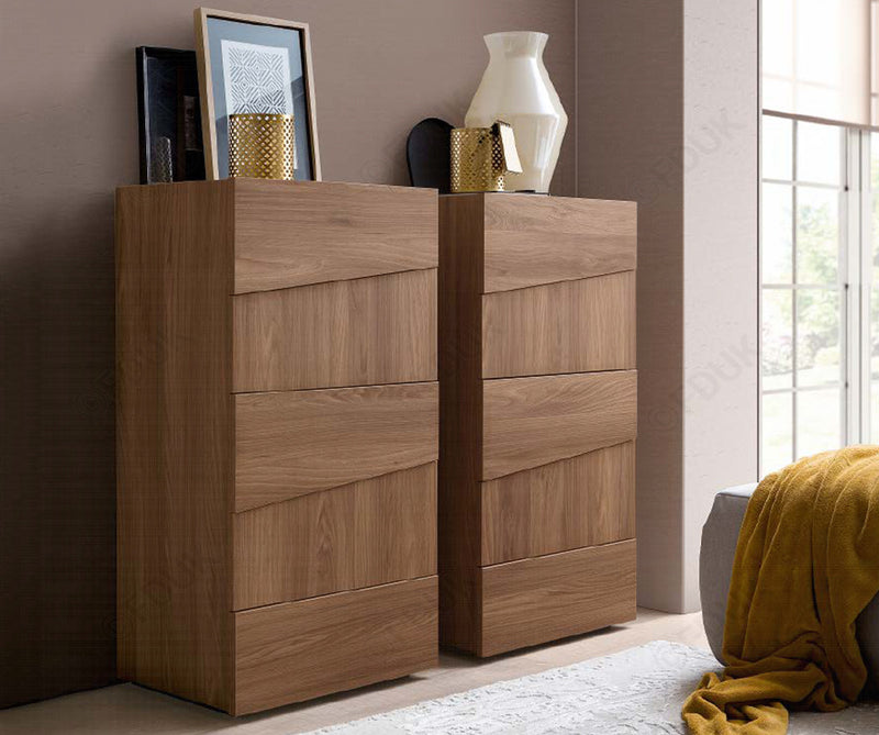 Storm Walnut Finish Italian 5 Drawer Tall Boy - ImagineX Furniture & Interiors