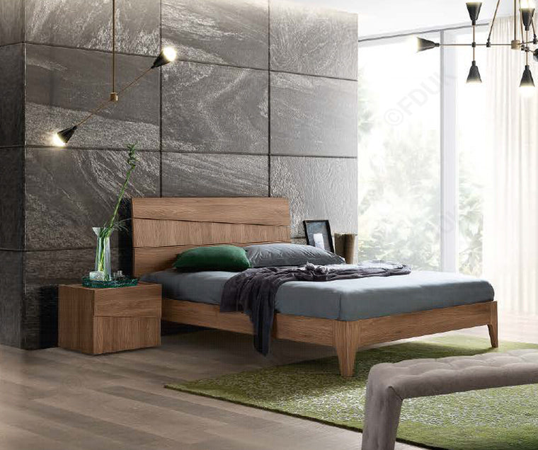 Storm Letto Walnut Finish Italian Bed Frame