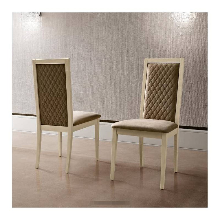 Ambra Liscia Sand Birch Finish Leather Dining Chair