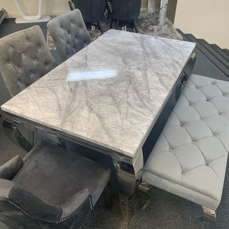Louis 160cm Grey Marble Dining Table Only - ImagineX Furniture & Interiors
