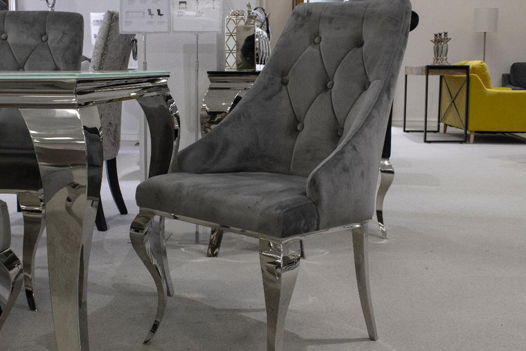 Cassia Silver Buttoned Dining Chair