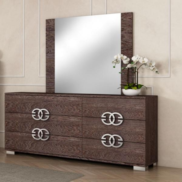Prestige Umber Birch High Gloss Italian Large 6 Drawer Dresser