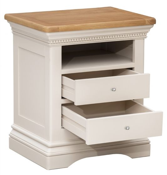 Winchester Silver Oak Large Bedside Table - ImagineX Furniture & Interiors