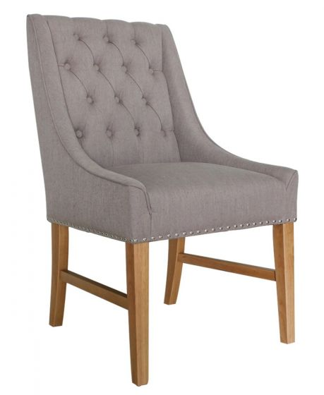 Winchester Truffle Linen Fabric Dining Chair - ImagineX Furniture & Interiors