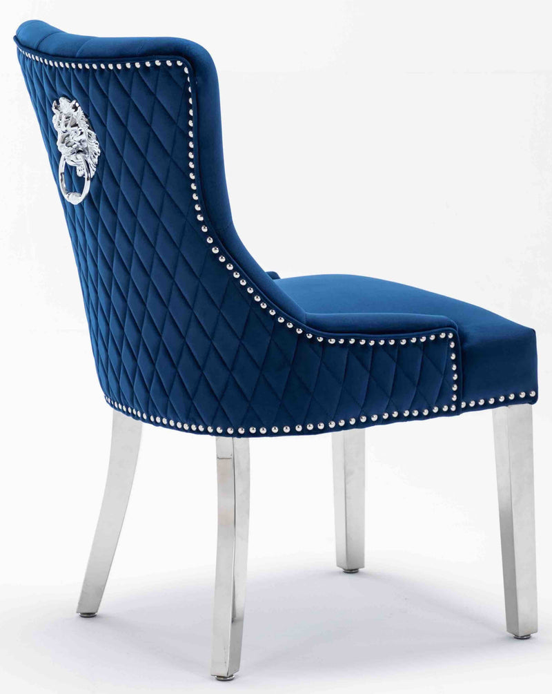 Windsor Blue Velvet Lion Knocker Dining Chair With Chrome Legs