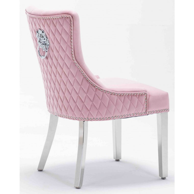 Windsor Pink Velvet Lion Knocker Dining Chair With Chrome Legs