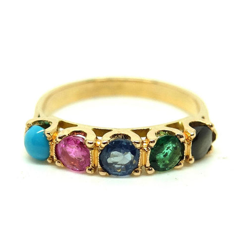 Vintage 1930s Ruby & Diamond Three Stone 18ct Rose Gold Ring