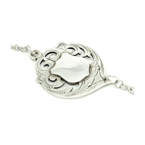 Antique Edwardian 1901 Silver Heart Necklace