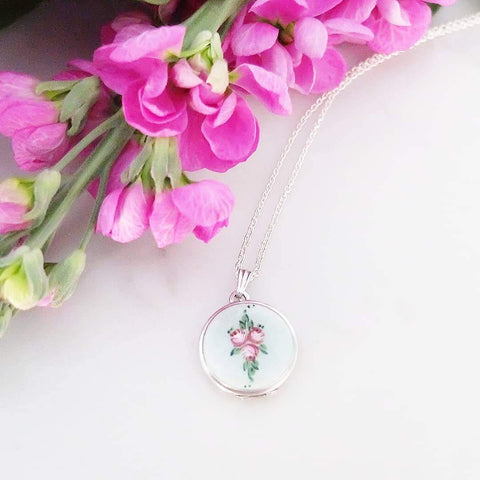 Vintage 1920s Art Deco Enamel Rose Silver Locket Necklace