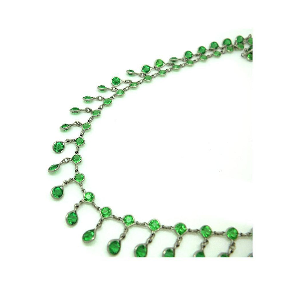 Vintage 1920s Art Deco Green Glass Paste Drop Silver Necklace
