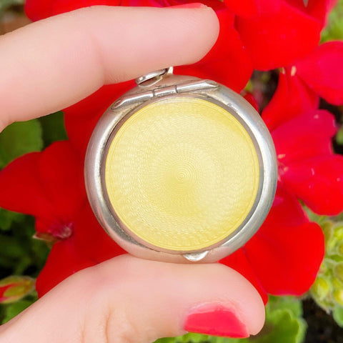 1920s Necklace Vintage 1922 Yellow Enamel Sterling Silver Compact Necklace