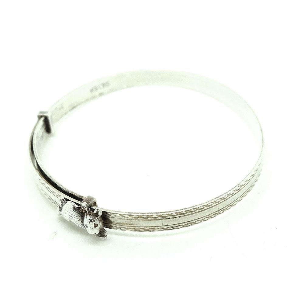 Vintage 1930s Children's Rabbit Sterling Silver Bangle Bracelet