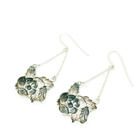1930s Earrings Vintage 1930s Art Nouveau Enamel Flower Silver Drop Earrings