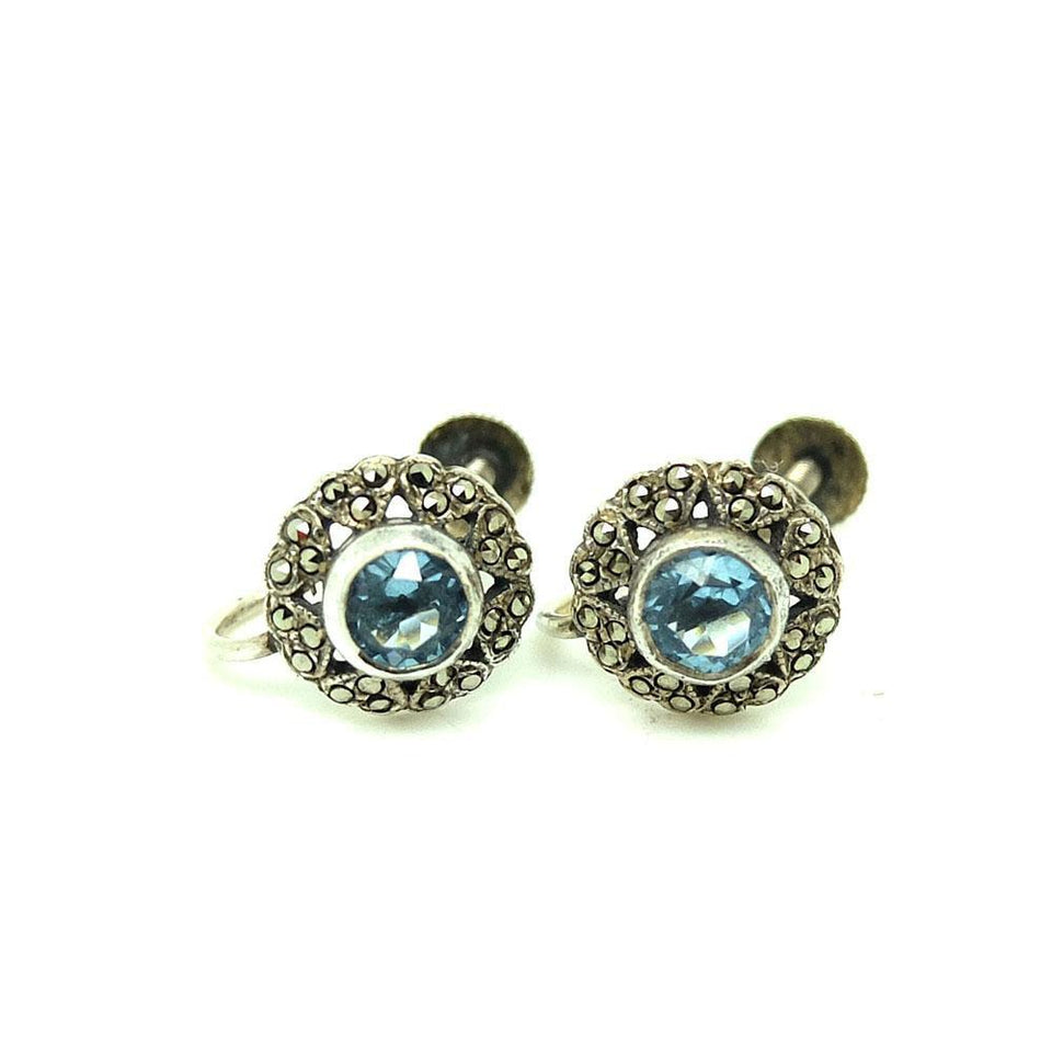 Vintage 1930s Blue Glass Marcasite Screw Earrings