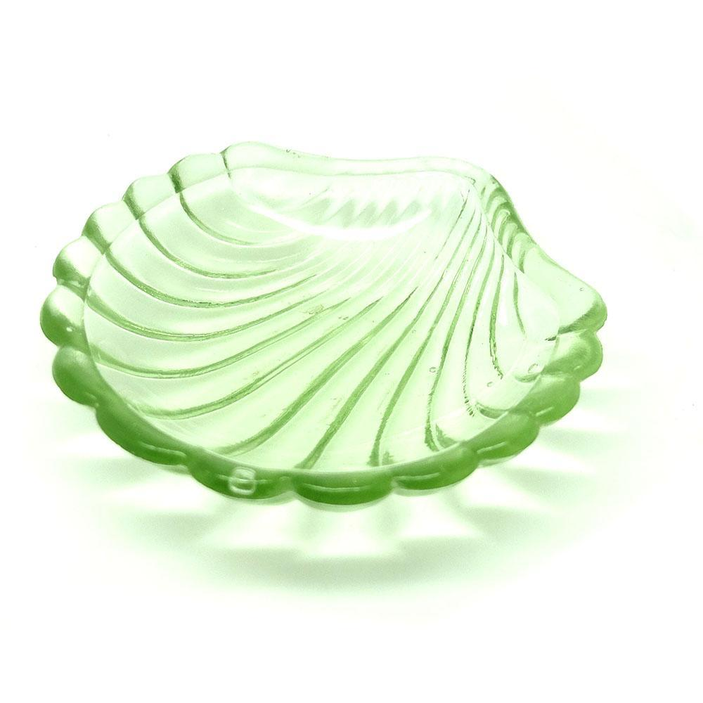 Vintage 1930s Green Glass Shell Ring Dish