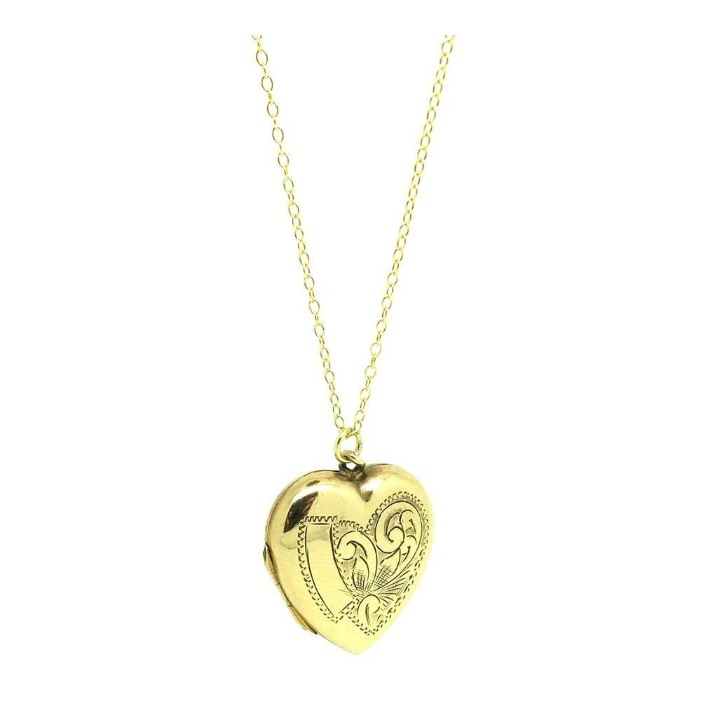 SOLD - G - Vintage 1930s Engraved 9ct Gold Heart Locket Necklace