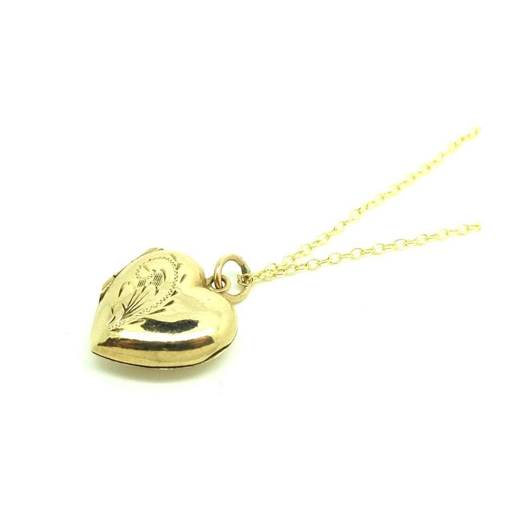 SOLD - Grace - Vintage 1930s Tiny Engraved 9ct Gold Necklace