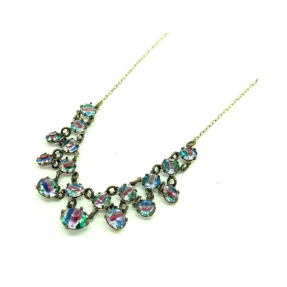 Vintage 1920s Iris Glass Drop Necklace