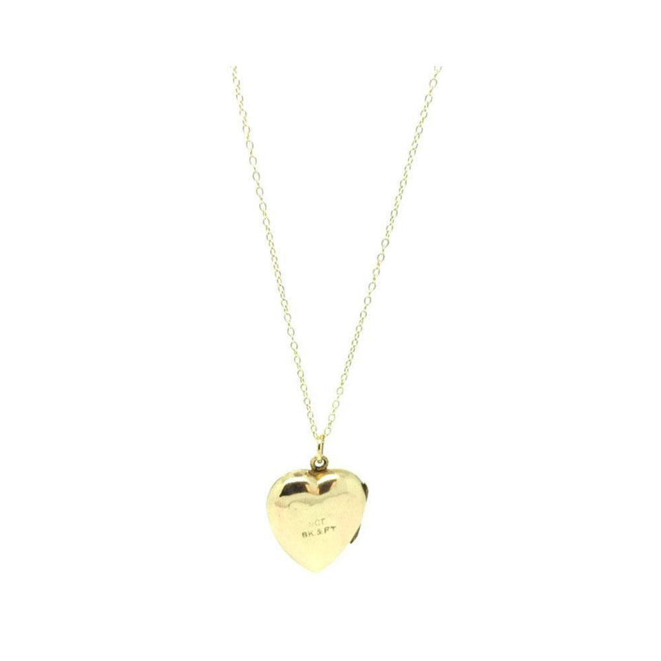 Vintage 1930s 9ct Heart Shaped Locket Necklace