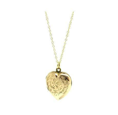 Vintage 1930s Engraved 9ct Rose Gold Engraved Heart Locket Necklace